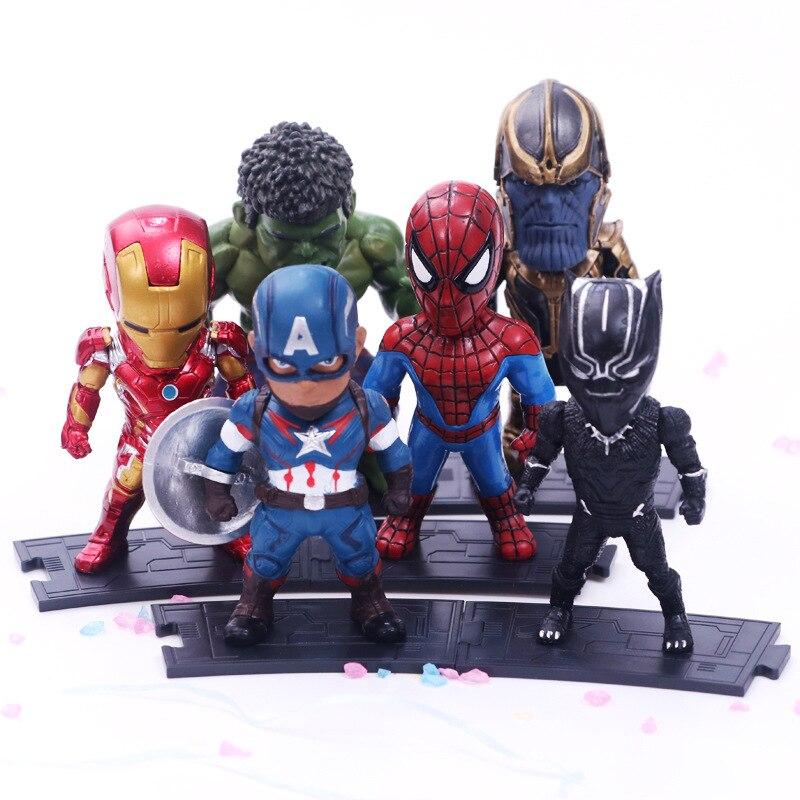 6 unids/set Los vengadores de Marvel Infinity War Thanos Ironman Spiderman capitán Hulk americano Pantera Negra figuras en miniatura de juguete