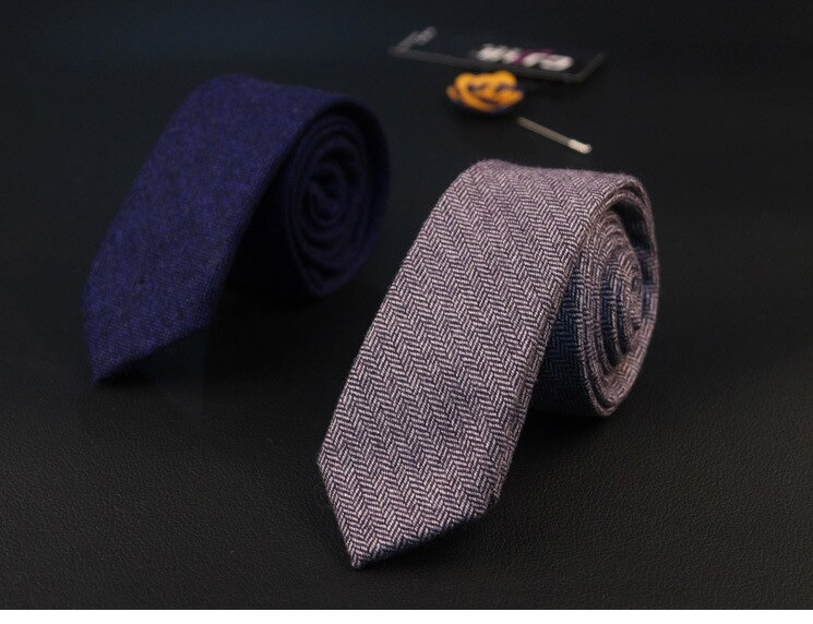 Men 's solid color wool British high - quality neck ties New monochrome 6cm narrow neck tie