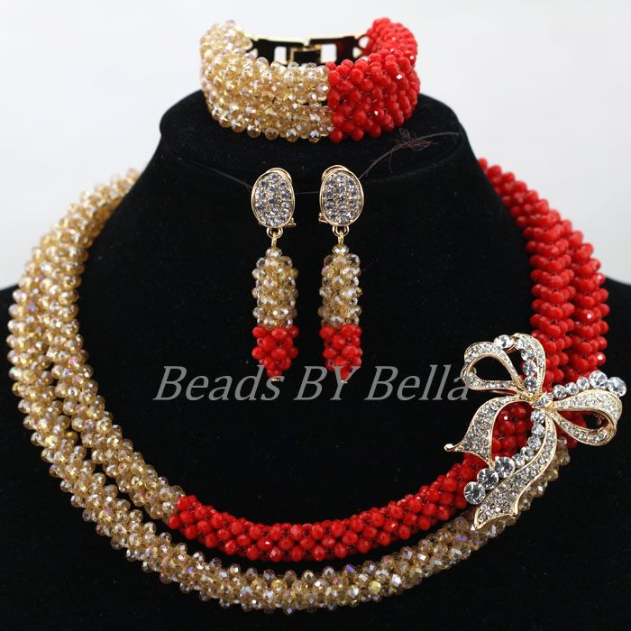 Última Noticia traje africano conjunto de joyería caliente mujer declaración collar nigeriano Boda nupcial conjuntos de joyería envío gratis ABK898