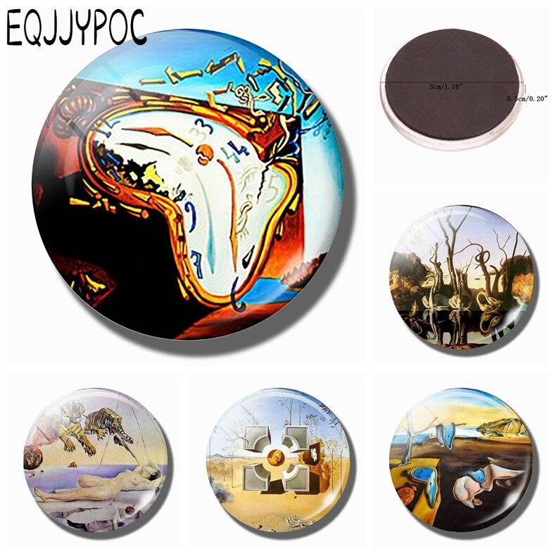 Salvador Dali Zachte Horloge 30mm Magneet Explosie Art Glass Dome Magnetische Koelkast Stickers Note Holder Home Decoratie