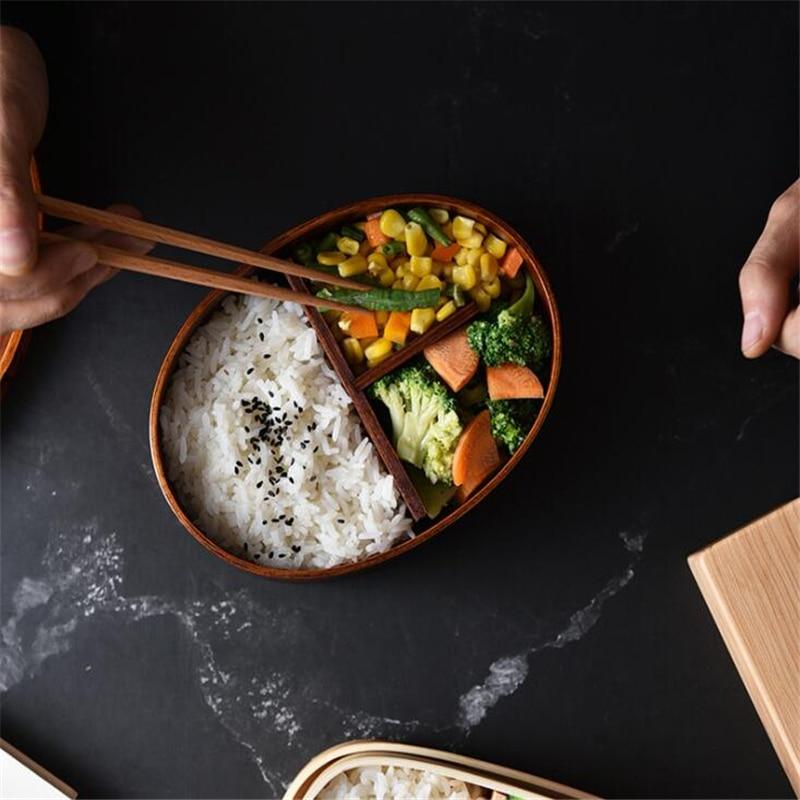 Fiambrera de madera de 1/2 capas, cajas Bento de estilo japonés, recipiente para alimentos de cocina portátil para niños y estudiantes, accesorios