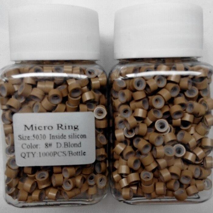 Venta caliente Rubio Anillo Micro Del Silicón Para Las Extensiones de Cabello 5.0mm x 3.0mm x 3.0mm 10000 Unidades de Humanos Anillos Micro del pelo