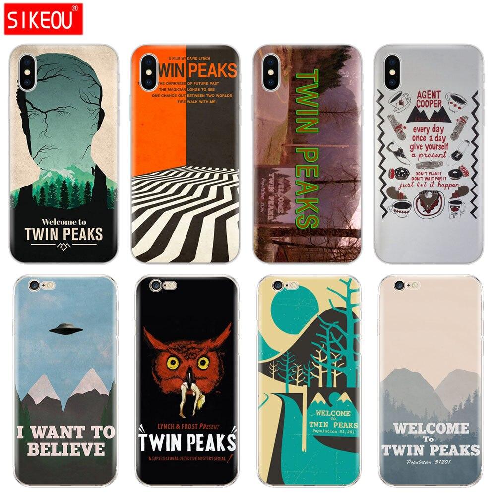 Tampa Do Telefone de Silicone Case Para Iphone 5 6X8 7 6 s 5S SE Plus 10 XR XS Max caso Boa Vinda Para Twin Peaks