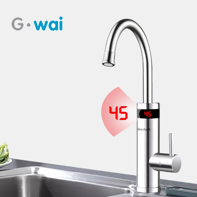 220V Kitchen Electric Instant Water Heater Tap Stainless Steel Faucet Tankless