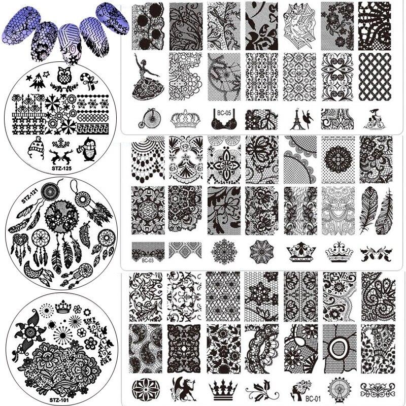 Nail art Stanzen Platte DIY Nagellack Stanzen Werkzeuge Stamper Dichtung Maniküre Stanzen Vorlage Schablone Drucken Malerei Stempel Kit