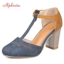 Aphixta Summer Women Pumps Heels Shoes Women Ladies Classics Dance Wedding Dress Round Toe T-tied Square Heel Shoes Mujer