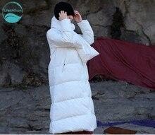 LinenAll dorigine hiver haute densité coton blanc V-col long et épais chaud vers le bas veste manteau avec écharpe