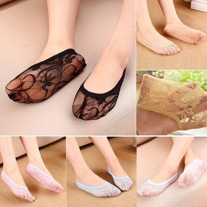 Nuevos calcetines cortos transparentes de encaje para mujer, calcetines tobilleros ahuecados de verano, calcetines Elástico cómodo invisibles suaves para mujer