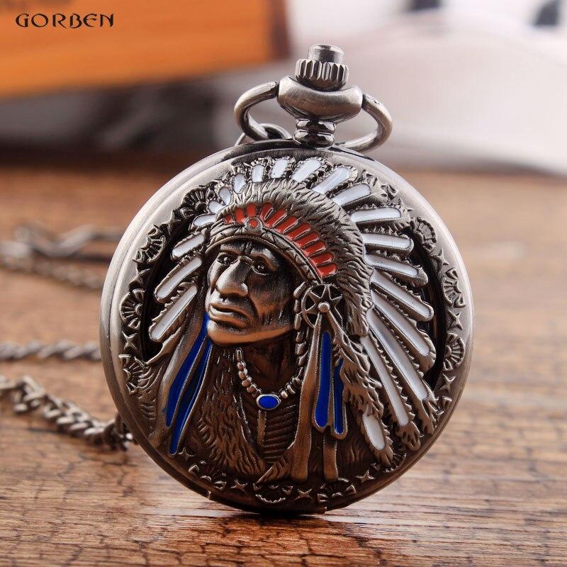 Reloj de bolsillo de estilo único de los indios con collar FOB, cadena, diseño de los ancianos, reloj de cuarzo hueco negro para hombres y mujeres presentes