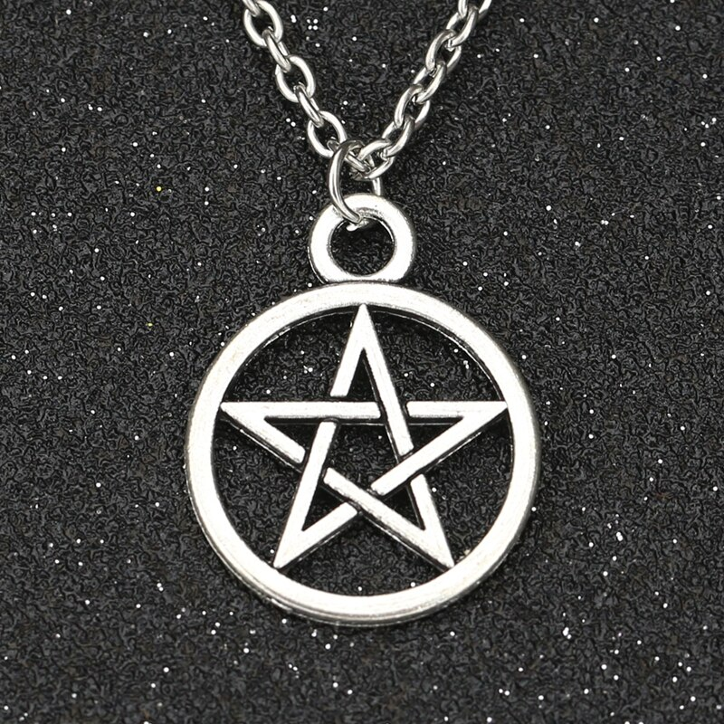 Sobrenatural colar armadilha pentagrama do diabo pentagrama antigo prata cor amuleto pingente vintage retro filme jóias atacado