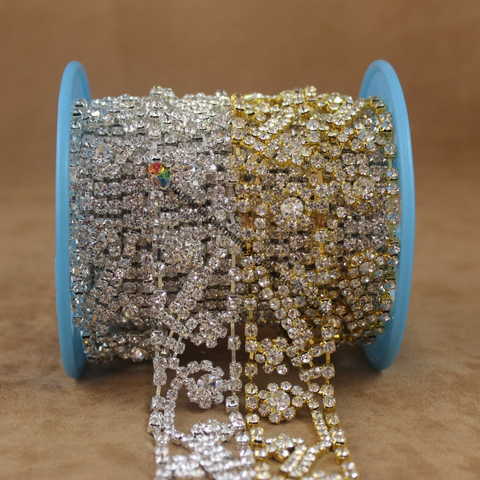 1 Yard Vintage Sparkling Czech crystal chain rhinestone cup chain Trim Furniture Browband Wedding Dress DIY Accessory Decoration