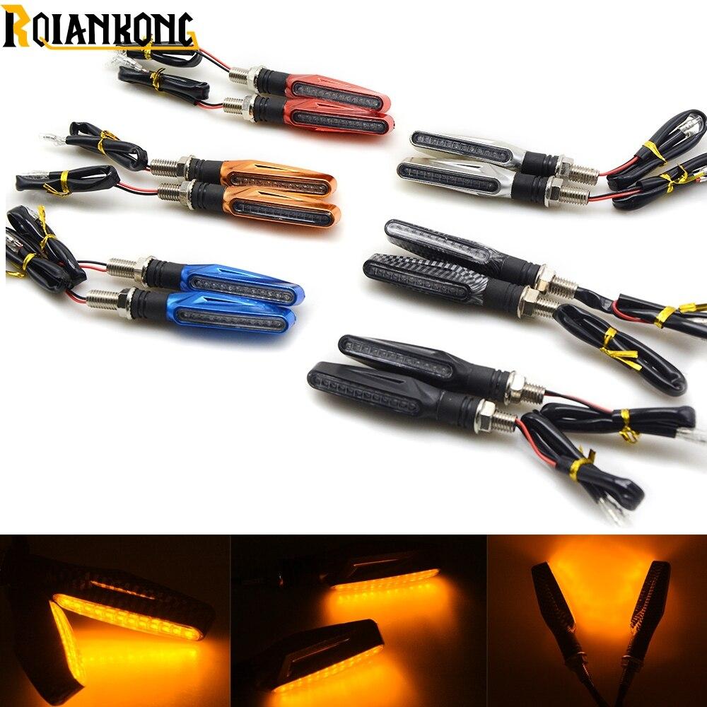 1 par de indicadores LED universales para motocicleta, luz de flujo, señal de giro, luz ámbar, indicadores de motor, luz ámbar