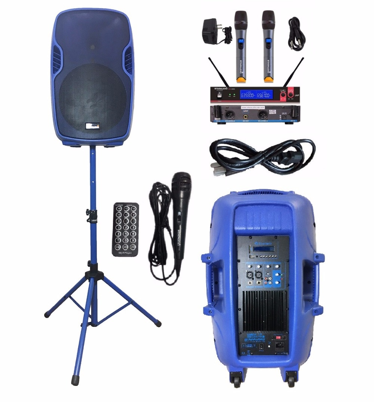 STARAUDIO SSBM-15RGB 15 pulgadas 3500 W de potencia PA activo DJ FM USB SD BT MP3 altavoz de etapa W/2CH micrófono con cable con soporte UHF