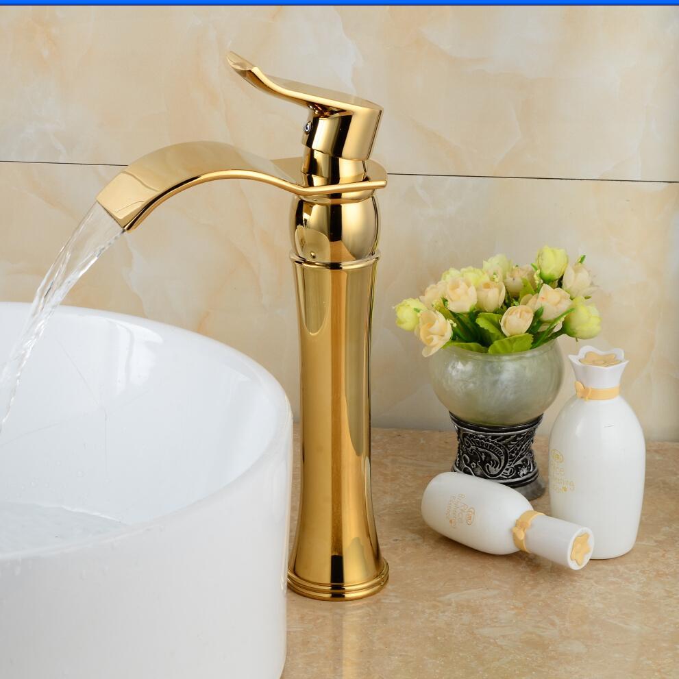 Luxury Basin Faucet Free Shipping Swan Sink Faucet Single  Handle Gold Swan Basin Faucet Gold Plated Bathroom Tap B-1002M