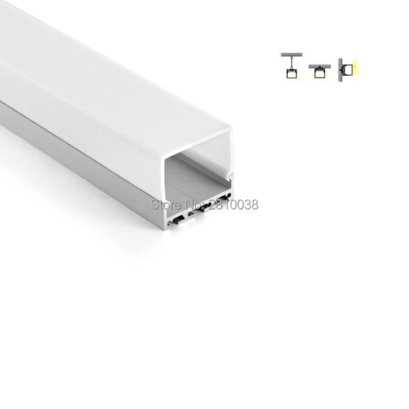 100 X 2M Sets/Lot Office lighting profile led aluminium 42 mm tall square shape led aluminum housing for ceiling lights