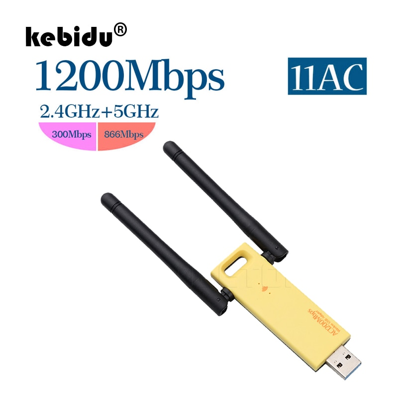 Adaptador wifi inalámbrico kebidu 1200mbps de doble banda 5Ghz 2,4 Ghz adaptador 802.11ac RTL8812 Chipset aéreo Dongle Mini tarjeta de red USB