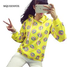 Harajuku Donut Print Hoodies Sweatshirts Women 2021 New Fashion yellow Long Sleeves Loose Pullovers