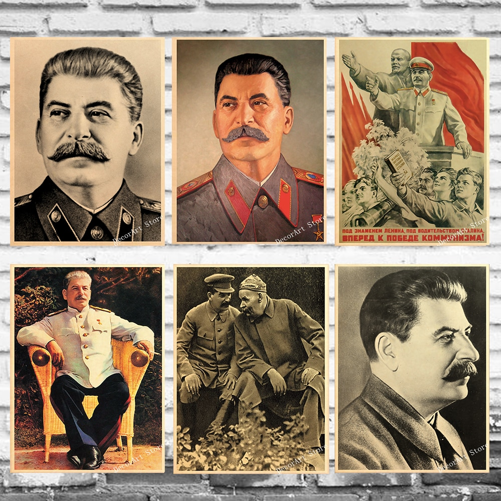 Ленин Сталин CCCP Советский Союз лидер холст живопись Винтаж стены крафт плакаты с покрытием настенные наклейки украшение дома фотографии