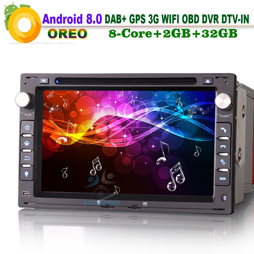 8-Kern Android 8.0 DAB+ OBD Autoradio DVB-T2-IN Bluetooth Car Radio RDS DVD Navi CAM-IN WiFi 3G GPS FOR VW PASSAT B5 BORA POLO