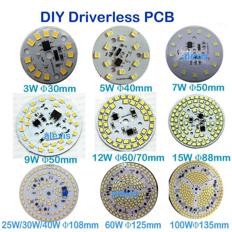 Автоматическая регулировка яркости светодиодный пластина PCB 3 W 5 W 7 W 9 W 12 W 15 W 25 W 30 W 60 W 100 W IC драйвер лампа Панель светодиодный PCB вниз свет