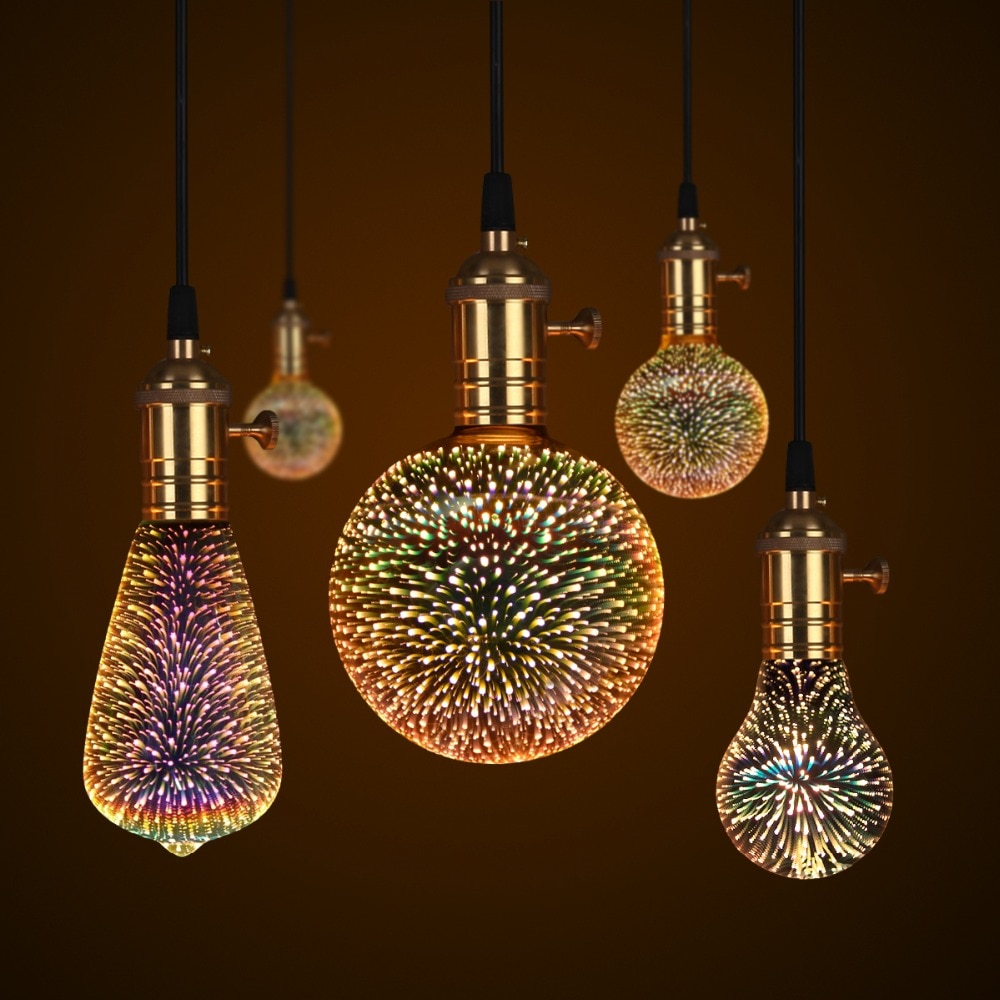 Creative 3D Holiday Lights lámpara LED E27 110V 220V fuegos artificiales hadas luces tiras de luz con cable de cobre bombillas para la decoración de Navidad
