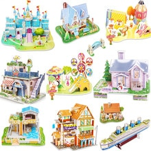 3D bricolage Puzzle château modèle de bande dessinée maison assemblage papier jouet enfant début apprentissage Construction modèle cadeau enfants maison Puzzle