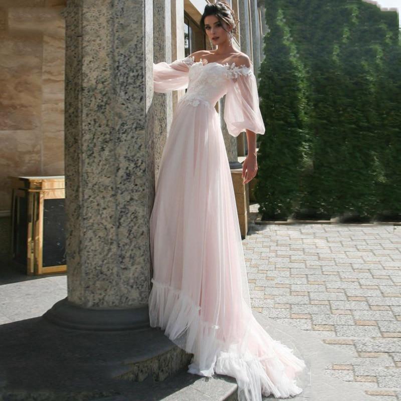 LORIE Boho różowa suknia ślubna linia koronkowe aplikacje bufiaste rękawy suknia dla panny młodej suknia ślubna punkt tiul 2019