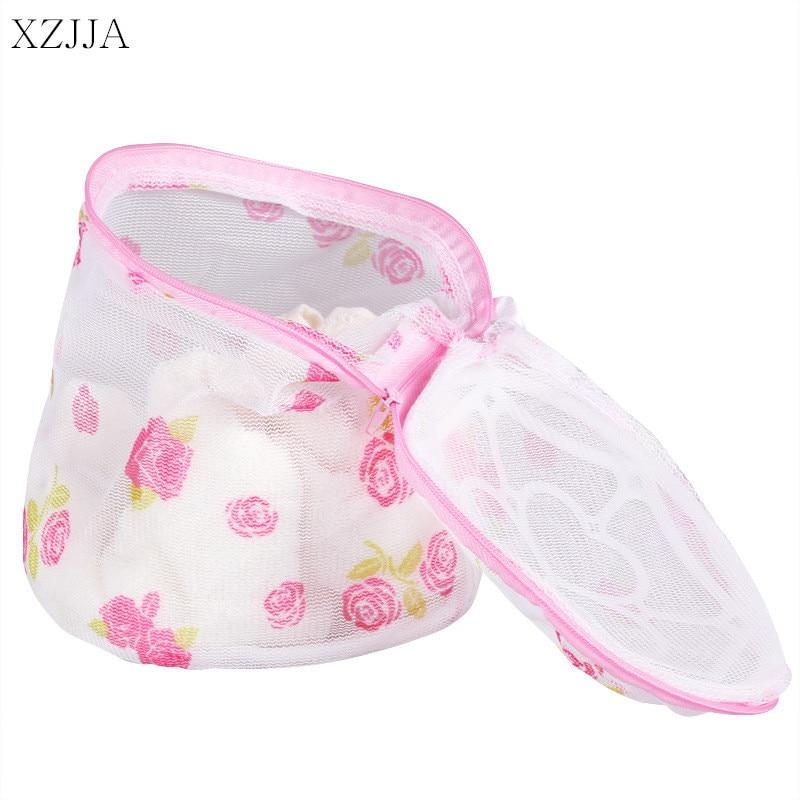 XZJJA bolsas de lavandería rosas, ropa interior, sujetador, calcetines, bolsa de limpieza, lavado, bolsa de malla para lavadora, cremallera, Protector, funda de red
