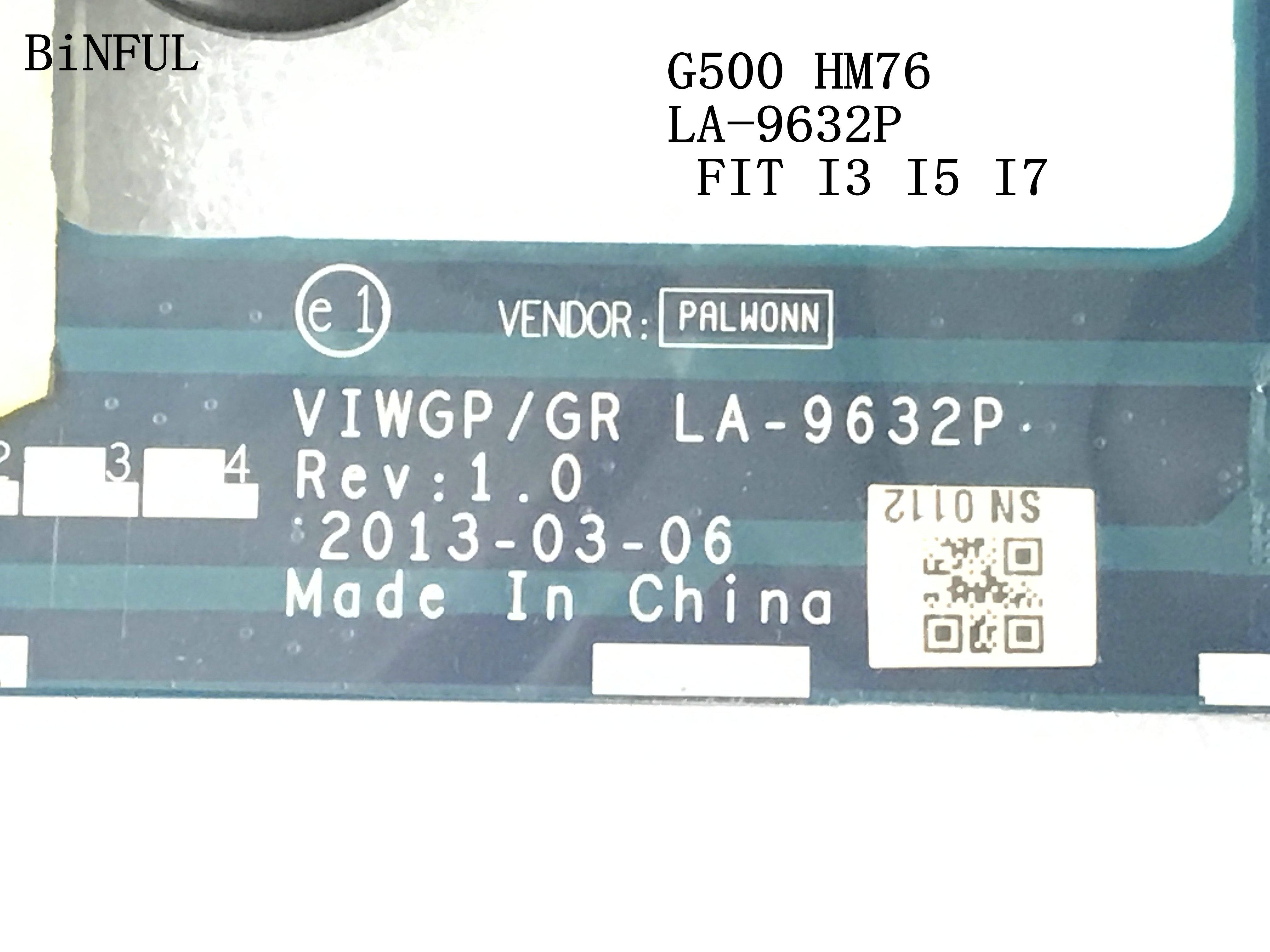 BiNFUL  stock ,VIWGP/GR LA-9632P LAPTOP MOTHERBOARD FOR LENOVO G500 NOTEBOOK PC MAINBOARD, SUPPORT core I3 I5 I7 (TEST OK )