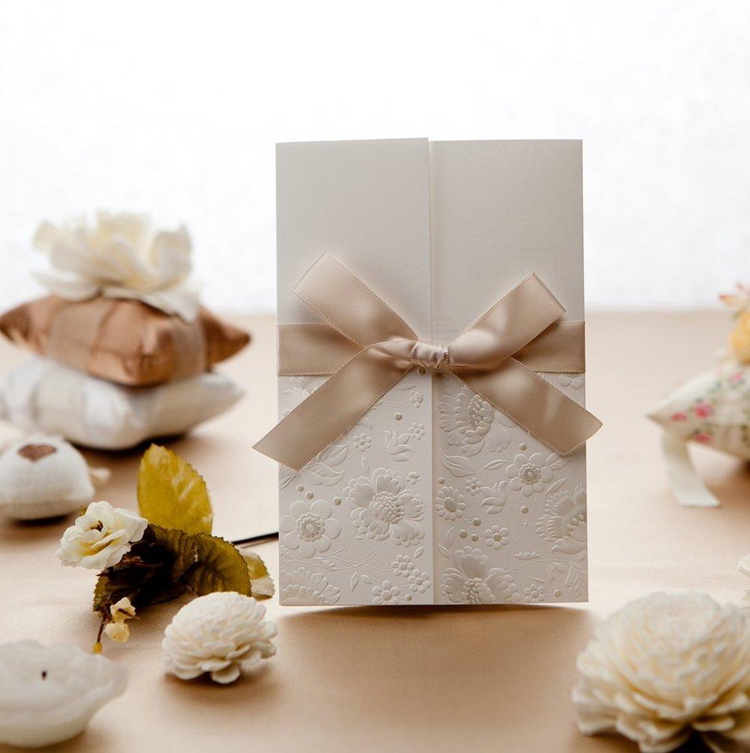 2 uds. Elegantes tarjetas de invitación de boda de tres pliegues en relieve Vintage, tarjeta de cumpleaños acrílica con sobres y diseño de lazo