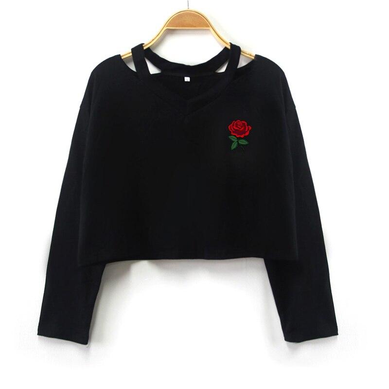 2019 camisetas femeninas con cuello en V, camiseta de manga larga de verano para mujeres, Harajuku Rose, camiseta estampada, camisetas casuales, camisetas para mujeres, ropa corta