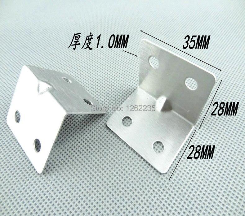 دعامة مربعة من الفولاذ المقاوم للصدأ 28*28*35 مللي متر ، زاوية كود نقية ، تركيبات حديدية ، لوحة طبقة إطار ثابتة