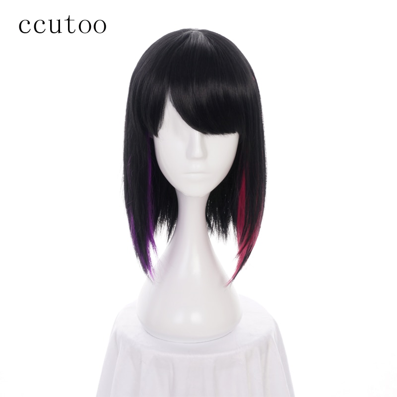 ccutoo 35cm feminino bobo curto em linha reta peruca sintetica cabelo festa de halloween