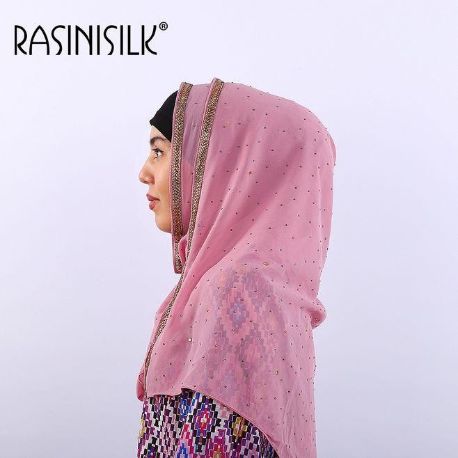 Burbuja perla chifón musulmán Hijab cabeza bufanda árabe islámico mujeres bufanda chal ropa turbante caliente perforación turco Hijab ropa