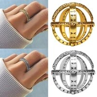 rinhoo 1pc silver color and gold alloy vintage creative astronomical complex rotating lettering sphere ring fashion jewelry gift