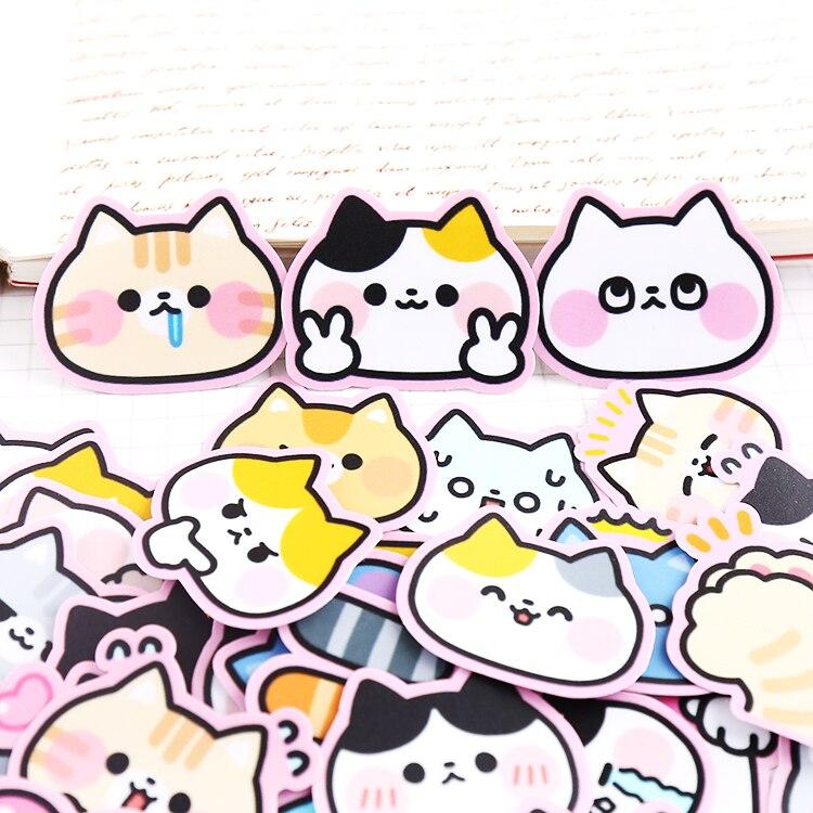 40 Uds lindo gato pintado auricular pegatinas decoradas con material manual teléfono bricolaje autoadhesivo pequeño traje fresco
