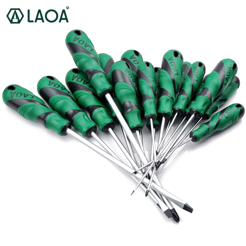 LAOA, 1 Uds., destornillador ranurado S2, destornillador Phillips de Material, doble mango de Color, destornillador de tornillo con magnetismo