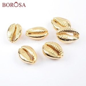 BOROSA 10PCS Full Gold Color Cowrie Shell Bead Undrilled Natural Shell Pendant Beads For Necklace/Bracelet Jewelry G1691
