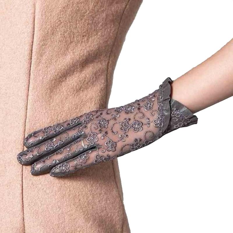 Женские перчатки из натуральной кожи, элегантные летние перчатки с сенсорным экраном, черные перчатки для вождения, с защитой от УФ-лучей, S, ...