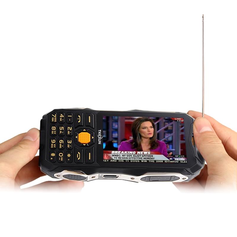 "TKEXUN Q8 Analog TV Power Bank Cellphone 3.5"" Handwriting Touch Screen Dual SIM Double Flashlight FM Bluetooth Mobile Phone P037"