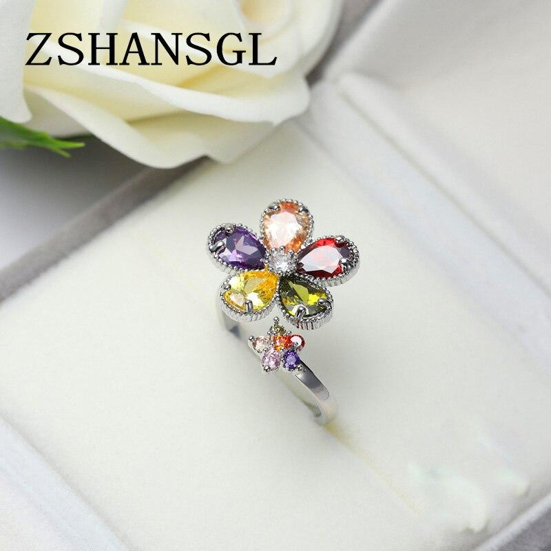 Nuevo Producto, anillos de apertura con diseño de flor en forma de corte, anillo de Plata de Ley 925 CZ Multicolor en 7 colores para mujer, joyería de moda