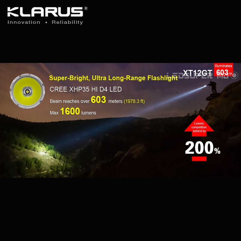 Magnetic Charging KLARUS XT12GT CREE LED XHP35 HI D4 LED Extended Reach Tactical Flashlight with Original 3600mAh Battery enlarge
