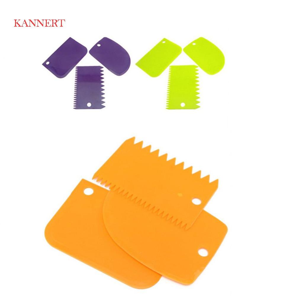 KANNERT 3Pcs/set Plastic Dough Knife Icing Fondant Scraper Jagged Edge Cake Spatula Baking Pastry Tools Plain Smooth Cake Paddle