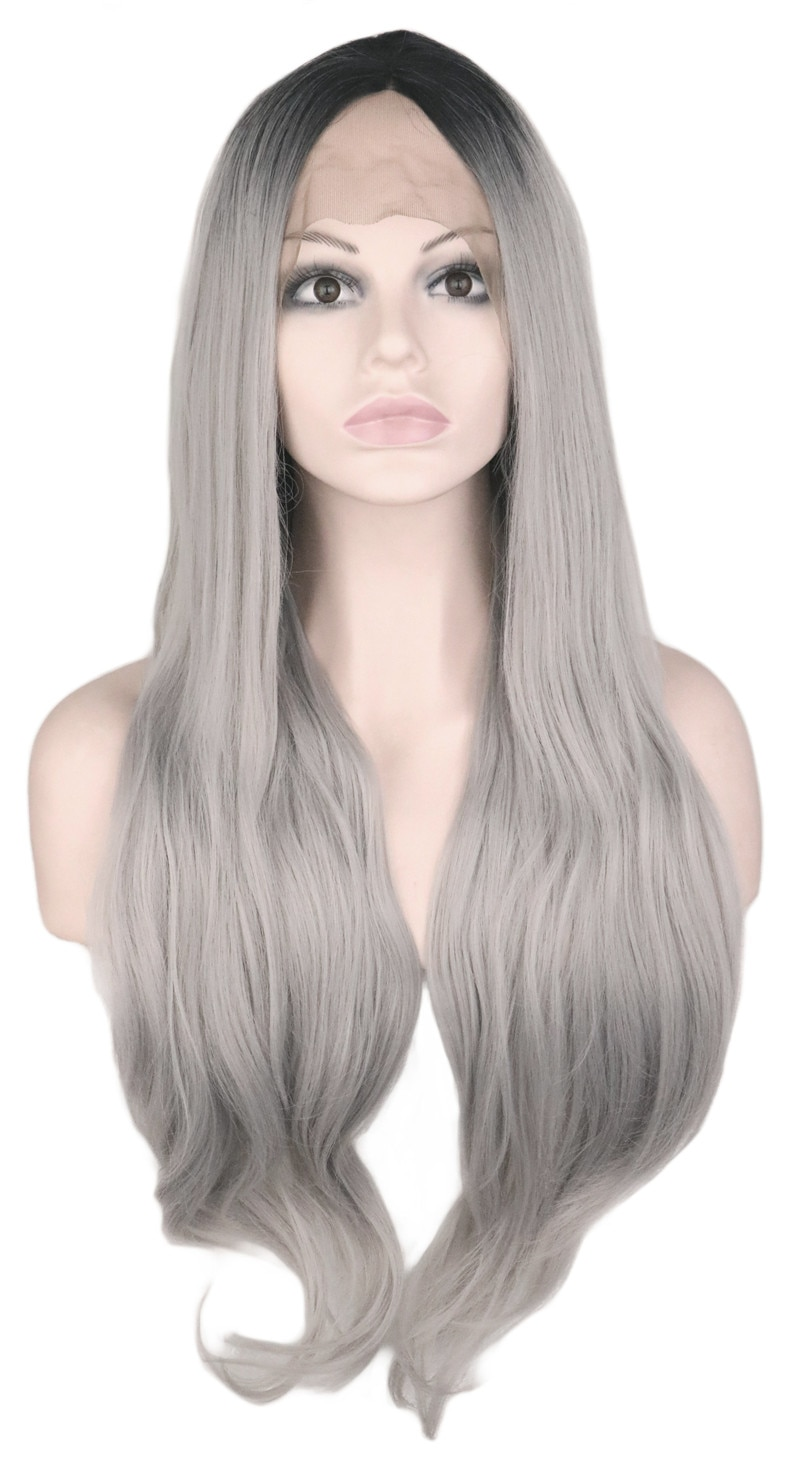 QQXCAIW Natural Hairline Hair Lace Front Wig Synthetic Hair 70 Cm Long Wavy Black Ombre Gray Hair Black Wigs For Women