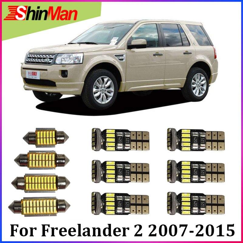 ShinMan 14X luz LED de coche, iluminación Interior de coche LED para Land Rover Freelander 2 juego de luz Interior LED 2007-2015 coche LED