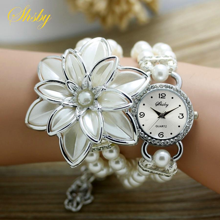 shsby fashion Women Rhinestone Watches Ladies pearl strap Many petals flower bracelet quartz wristwatches women dress watches
