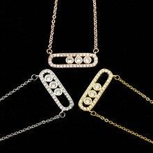 Perles de cristal collier délicat bijoux de mariage en acier inoxydable 3 points en ovale longue barre colliers pendentifs pour les femmes cadeaux