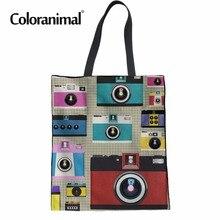 Sacs à main pliables pour femmes Coloranimal décontracté sac fourre-tout en coton réutilisable caméra impression fille sac décole Shopper sac nouveau