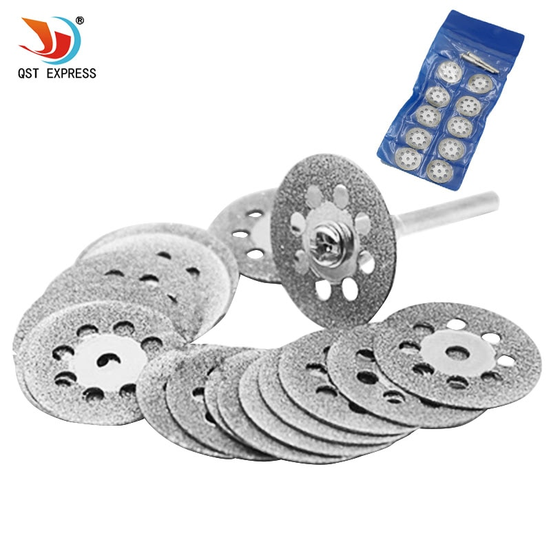New Hot Sale 10Pcs 22mm Mini Sharp Diamond Cut Off Rotary Tool Cutting Disc Disks DIY Tools Accessories For Dremel with 2Pcs rod