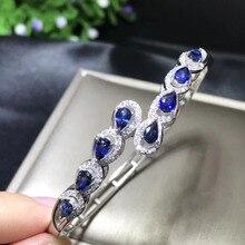 Luxueux à travers goutte deau saphir naturel gemme bracelets pierres précieuses naturelles Bracelet 925 en argent sterling femme fête bijoux fins